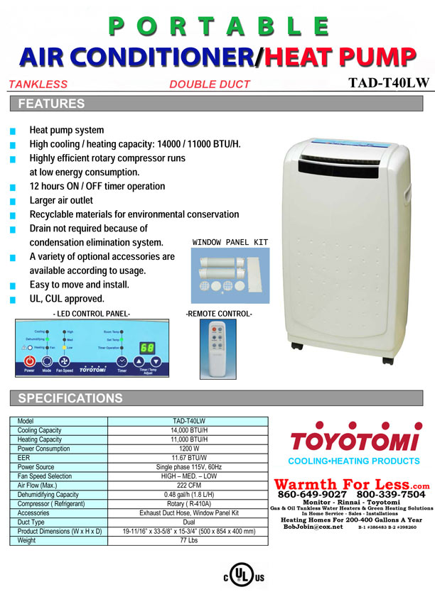 Warmth For Less Incorporated Toyotomi Portable Air